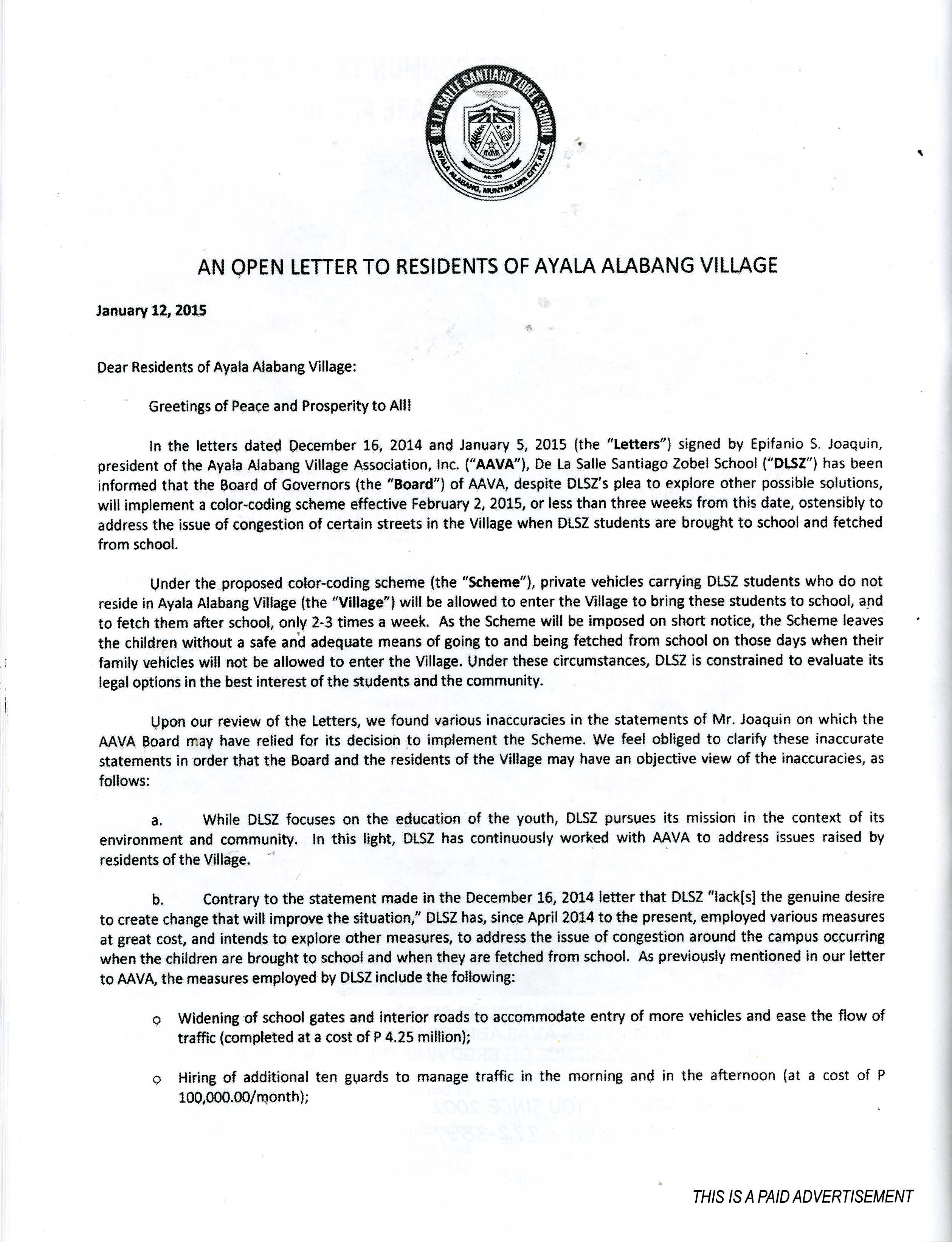 De la salle santiago zobel br bernie concerned aav residents a day after the release concerned residents of aav also wrote an open letter to their fellow aav residents dated january 13 2015 regarding their concern kristyandbryce Gallery