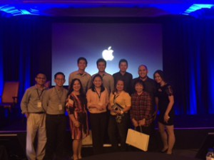First row (L-R): Mr. Cesar De Guzman, Educational Technology Coordinator, Mr. Jose Angelo Sibayan of Apple, Ms. Ruby Ramos, GS Principal, Ms. Winnie Diola, Ms. Rebecca Dela Rosa, GS Social Studies Teacher, Ms. Agnes Panaligan, HS Vice Principal for Academics, Ms. Michelle Casio of Apple. Second row (L-R): Mr. Mark Mendoza, HS Math Teacher, Mr. Salvador John Magalong, HS Science Teacher, Mr. Jholan Torres, GS Computer Technology Teacher, and Mr. Henry Magahis, HS Filipino Teacher.