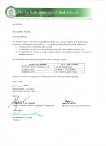 Letter to the Parents_LG Teachers' Retreat Schedules