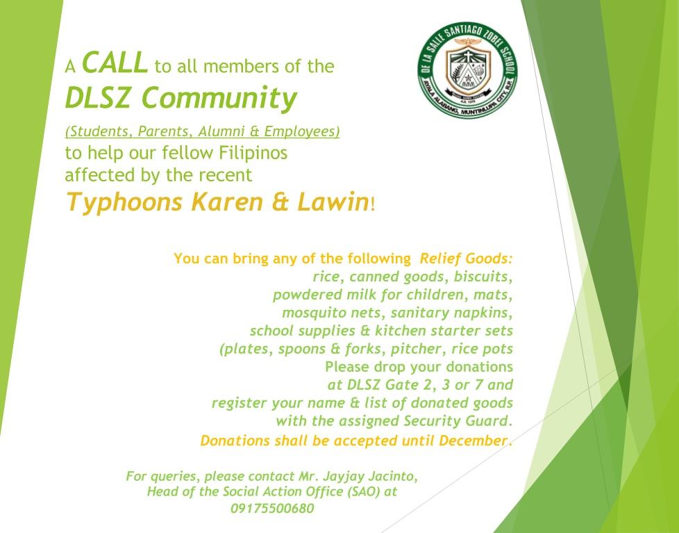 Call for Donations_Typhoon Karen & Lawin