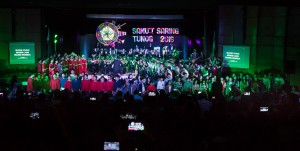 The different music groups during their Nov. 17 performance at the Sylvia P. Lina Theater.