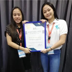 Janna Ysabellle F. Medrero and Riel Francine J. Ornada  receive the Best Club High School Category in Y4U.